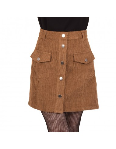 Jupe femme taille haute velours à bouton et poches avant