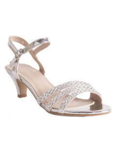 Sandales argentées petit talon mariage & soirée à bride strass perles talon 4cm