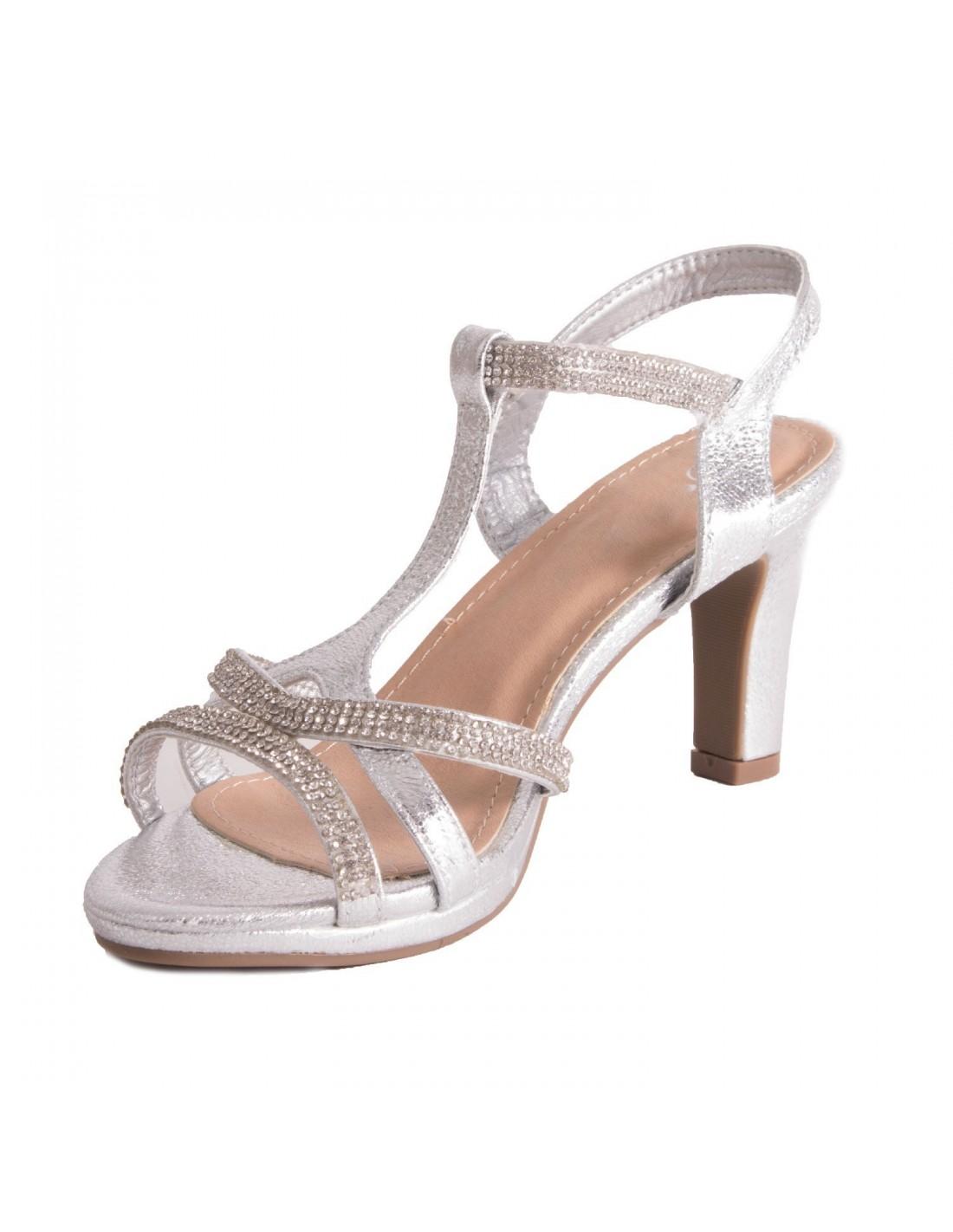 1deaac8456131d ... Chaussure mariage femme sandale argentée & strass diamant talon bas 5cm  à bout ouvert bride cheville ...