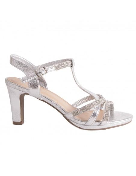 Chaussure mariage femme sandale argentée & strass diamant talon bas 5cm à bout ouvert bride cheville