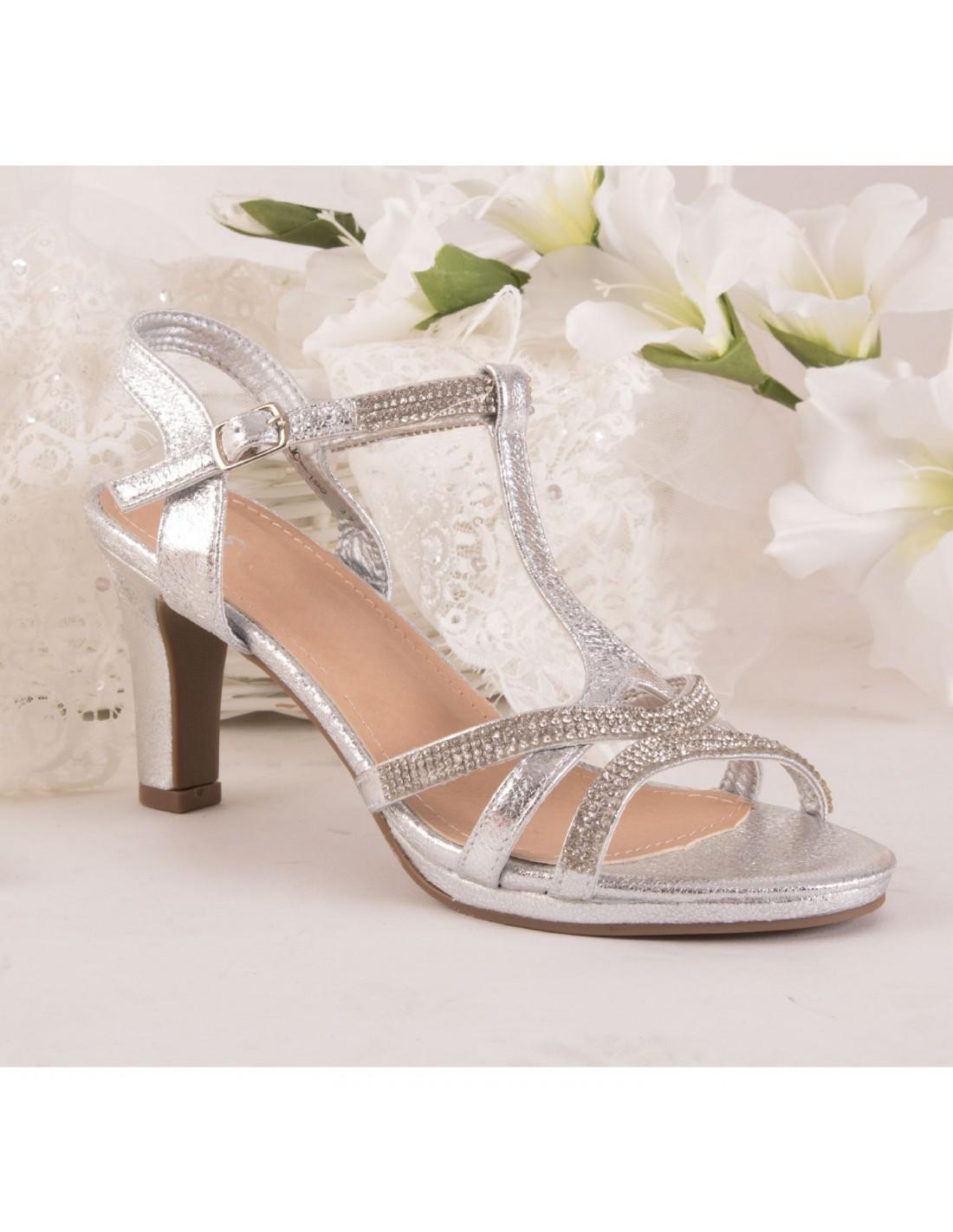 ecb58d62cc9d3d ... Chaussure mariage femme sandale argentée & strass diamant talon bas 5cm  à bout ouvert bride cheville