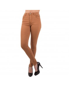 Jean femme skinny slim camel marron taille haute coupe stretch élasthanne