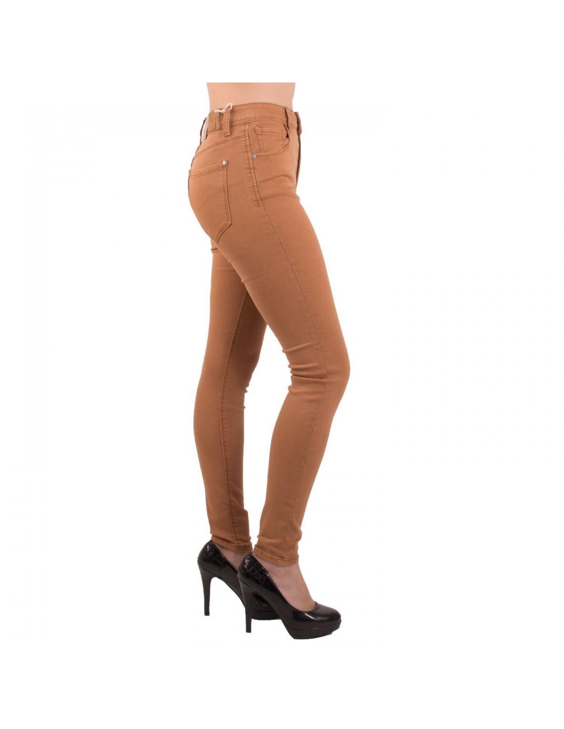 Jean femme slim camel taille haute coupe stretch marron
