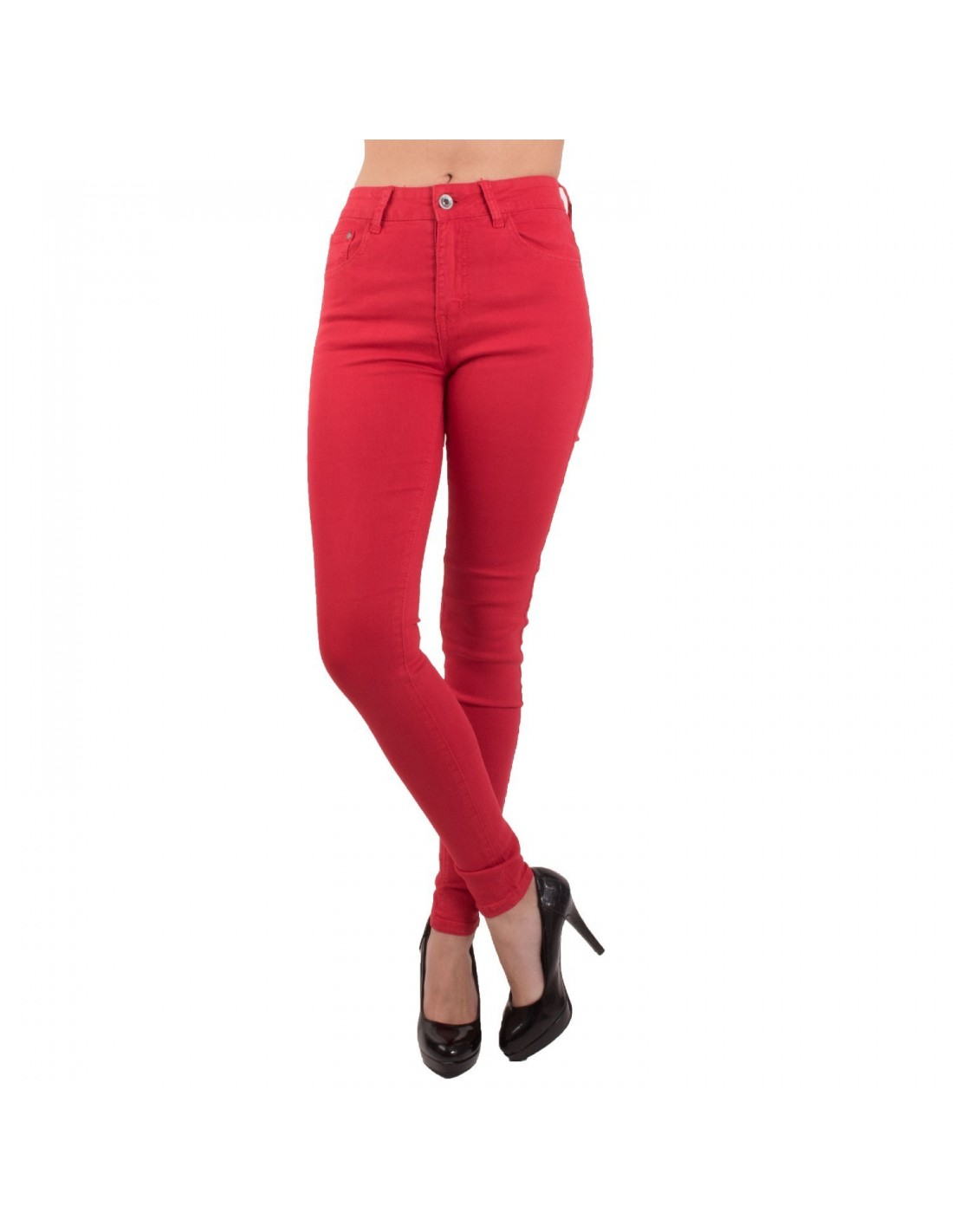 Jean femme rouge coupe skinny slim taille haute stretch élasthanne