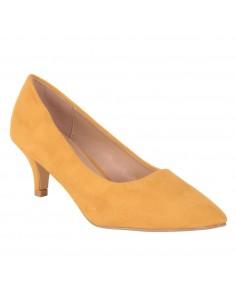 Escarpins pointus jaune moutarde aspect daim et talon bas 4cm