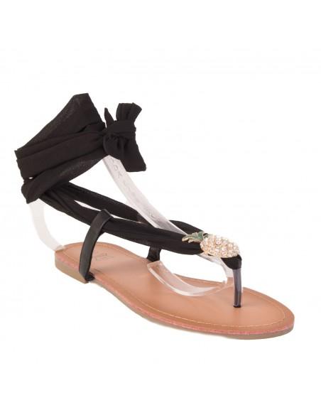 Sandales été femme laçage cheville ruban motif ananas strass semelle cuir
