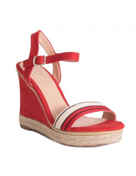 Sandales compensées femme bride effet corde bande bicolore bout ouvert