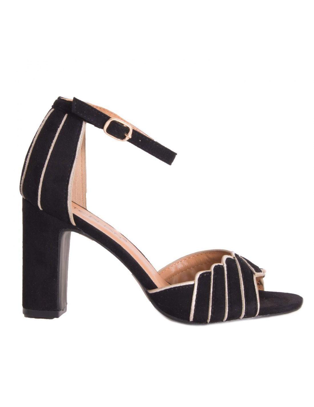 Débardeur Femme Bloc Talon Haut Bride Cheville Bout Ouvert Sandales Chaussures Taille