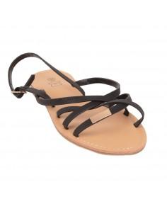Sandales femme nus pieds sandalettes à fines brides croisées noir semelle cuir