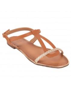 Sandales nus pied femme lanière tressée semelle cuir camel, blanc