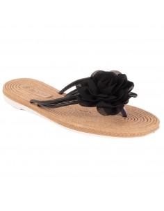 Tong femme fleur tissu mousseline et semelle effet fausse corde en simili cuir