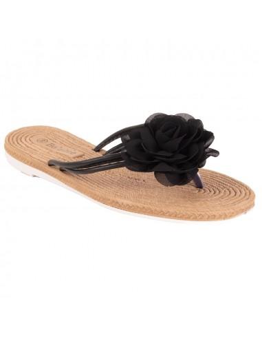 Tongs femme fleur tissu mousseline et semelle effet fausse corde en simili cuir