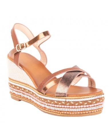 Sandales compensées été femme à lanière simili cuir & talon perle brodé ethnique