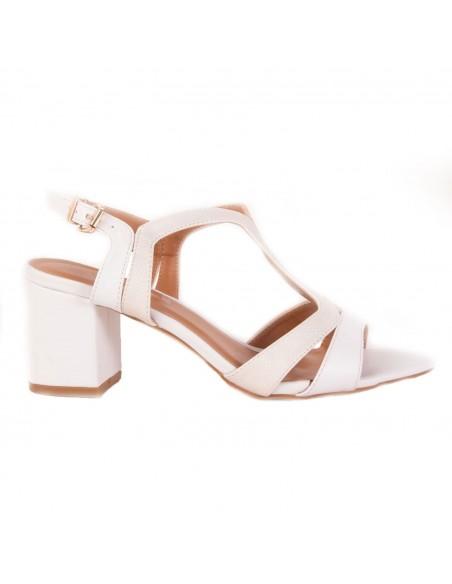 Sandales nus pieds femme à talon bas carré pailleté