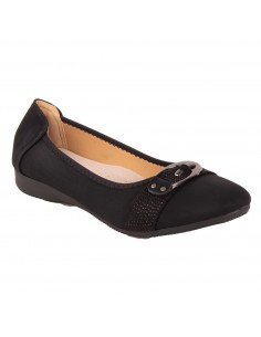 Ballerines noir strass grandes tailles  simili cuir 41 - 44 semelle intérieure cuir & boucle fantaisie metal