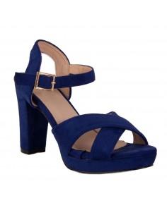 Sandales femme bleu roi haut talon carré à bride & bout ouvert