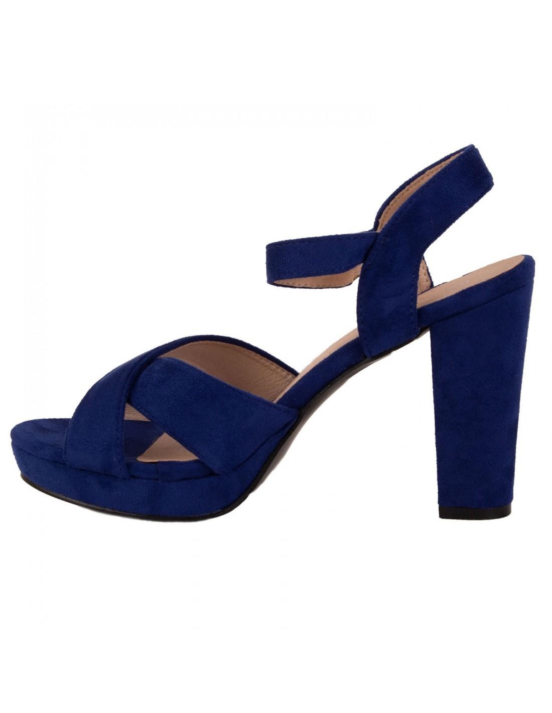 09b71b8b669073 ... Sandales femme bleu roi haut talon carré à bride & bout ouvert ...