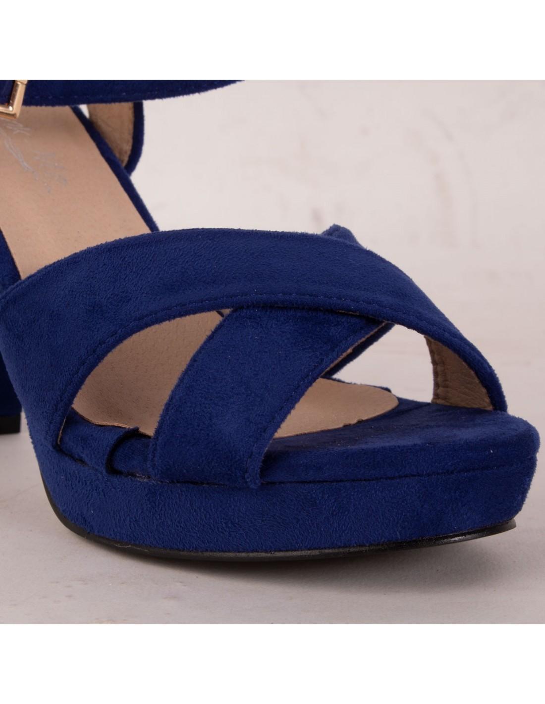 66b8f95d5bcd96 Sandales femme bleu roi haut talon carré 10 cm & plateforme à bride