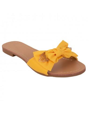 8a0214888459c Claquette femme mule semelle interieur cuir noeud tissu et feuilles dorées  chaussure été femme pas cher