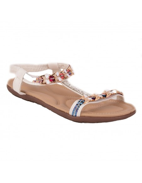 Sandale femme strass été grande taille pointure 41 à 44 avec chaîne doré & motif papillon