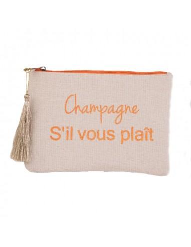 """Pochette maquillage cadeau écriture pailleté """"Champagne s'il vous plait """" en toile fermeture zip & pompon tissu"""