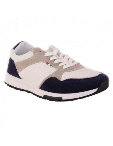 Baskets homme blanches & bleu forme sneakers toile sport semelle crantée