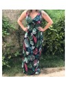 Robe longue femme motif fleurs tropicales imprimé fleuri