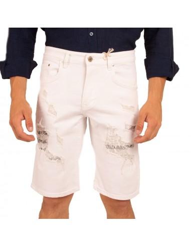 la plus récente technologie style unique style distinctif Short en jean homme stretch coloris blanc effet déchiré usé destroy