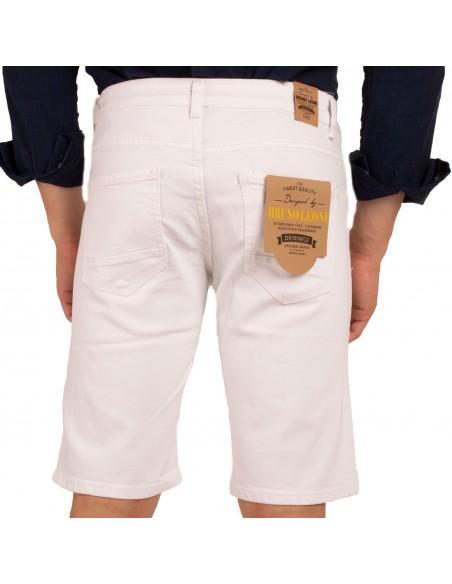 Short en jean homme stretchcoloris blanc effet déchiré usé destroy