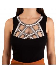 Body string coton femme sexy decolleté perles et strass ajouré effet plastron