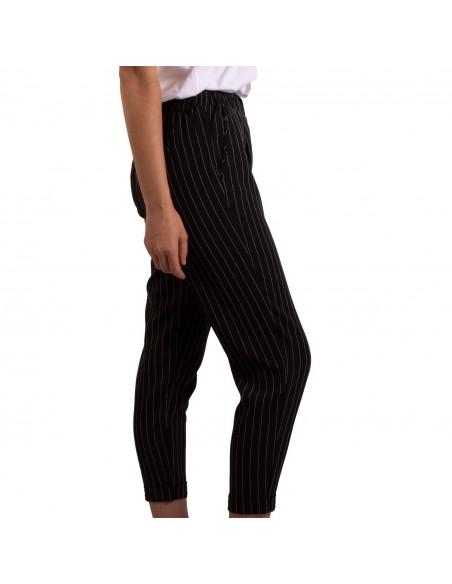 Pantalon femme cintré rayé 7/8 taille élastique