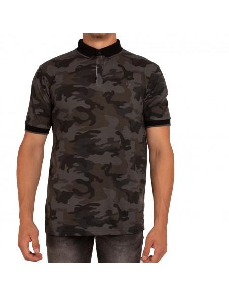 Polo homme militaire manches courtes motif camouflage gris noir
