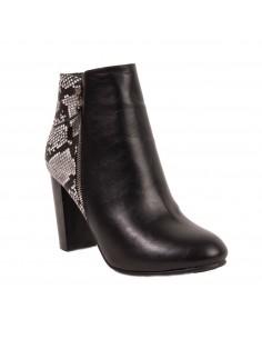 Bottines femme écaille python à talon 8cm en simili cuir noir & blanc zip décoratif