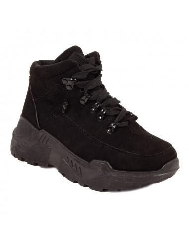 Baskets montantes femme noir inspiration trek shoes en simili daim suédine
