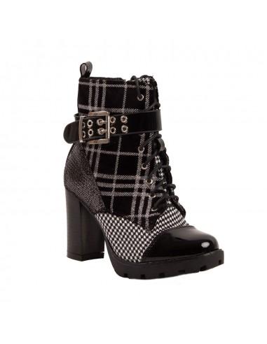 Boots à talons femme montantes semelle crantée motif carreaux & pied de poule