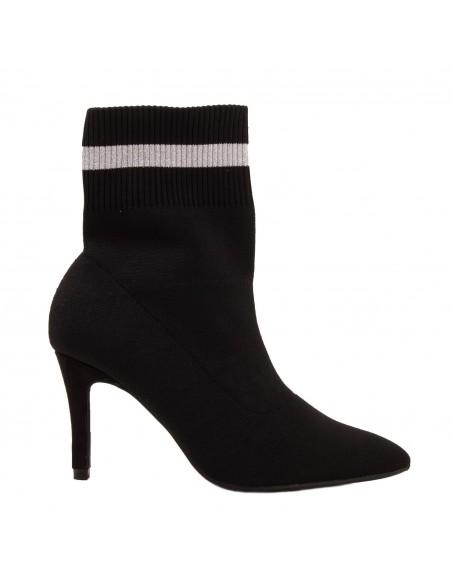 Bottines chaussettes femme noir talon fin à bout pointu bande argentée
