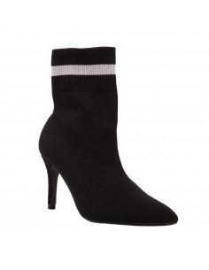 Bottines à talons forme chaussette femme noir bout pointu bande argentée élastique