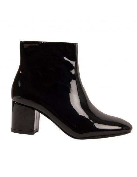 Boots vernies noir basses femme petit talon carré 5cm fermeture zip