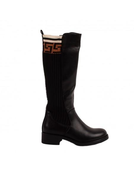 Bottes cavalière femme noir effet chaussette motif