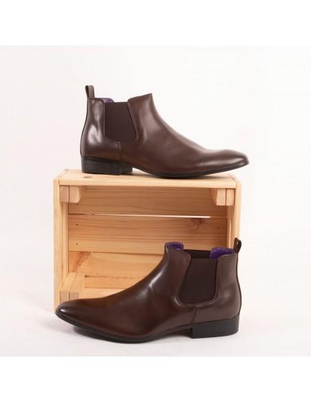 Bottines chelsea homme marron chocolat en simili cuir