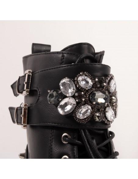 Bottines rangers à perles femme style motarde à bride avec perles nacré en simili cuir noir