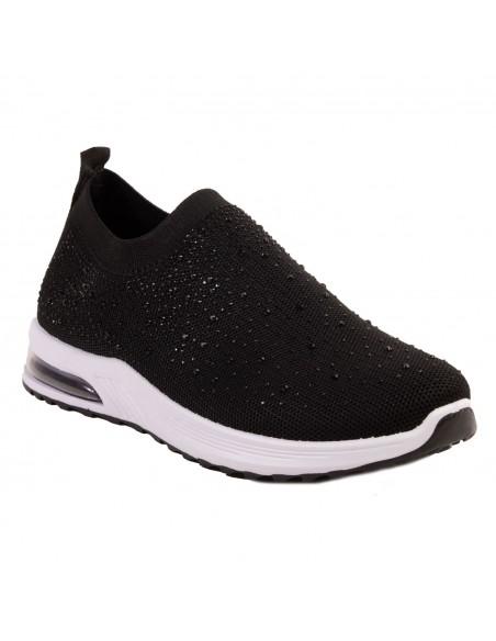 Baskets chaussettes femme basse noir à strass brillant élastique bulles d'air