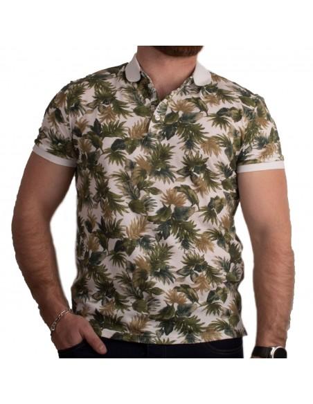 Polo homme manches courtes blanc motifs plantes vertes