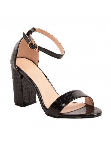 Sandales femme à talon bout ouvert bride cheville effet croco noir simili cuir