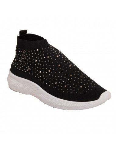 Baskets chaussette femme strass brillant noir ou rouge