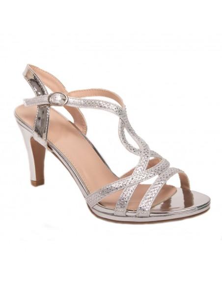 Chaussures mariage femme pailletée strass talon 6cm bride fantaisie tour de cheville