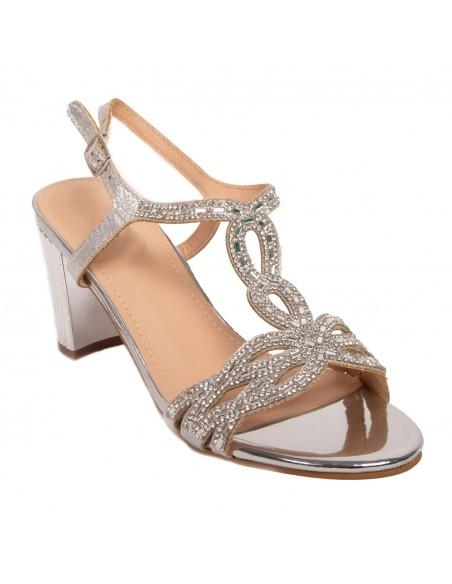 Sandales mariage femme argentée strass bijoux cérémonie petit talon carré