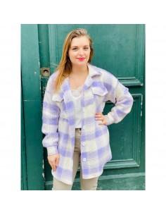Veste chemise carreaux femme pastelle violet effet tweed coton épaisse