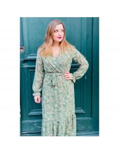 Robe longue manches longues cintrée cache coeur verte imprimé fleuri dorures feuille