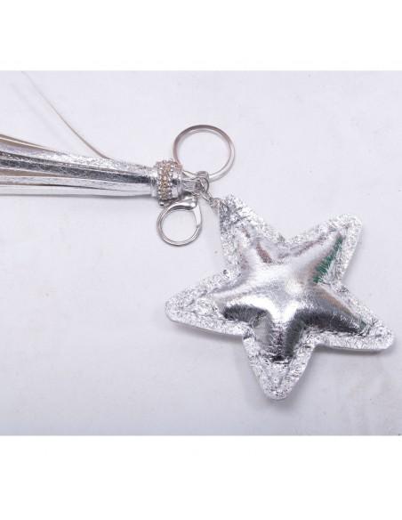 """Porte clef étoile cadeau soeur """" sister forever """" argenté brillant avec mousqueton"""